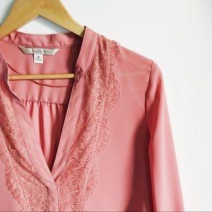 LC Lauren Conrad Pink Lace Blouse